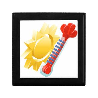 Concept de Sun et d'icône de temps de thermomètre Petite Boîte À Bijoux Carrée