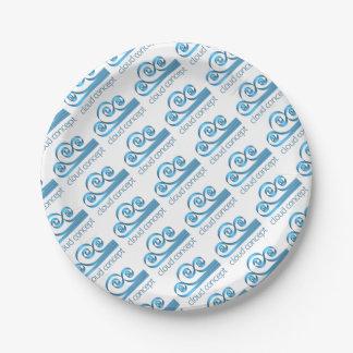 Concept d'icône de nuage assiettes en papier