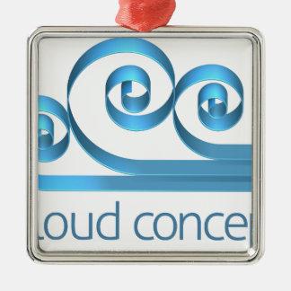 Concept d'icône de nuage ornement carré argenté