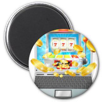 Concept d'ordinateur portable de machine à sous magnet rond 8 cm