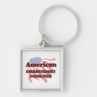 Concepteur américain de broderie porte-clé carré argenté