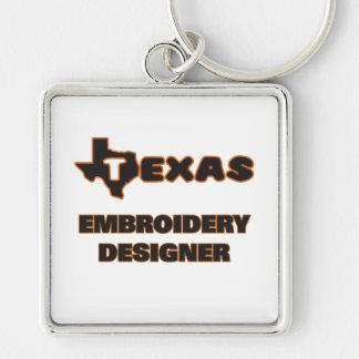 Concepteur de broderie du Texas Porte-clé Carré Argenté