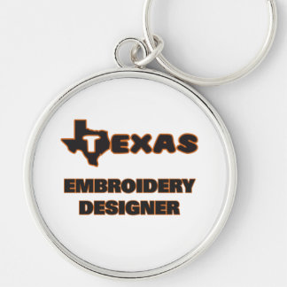 Concepteur de broderie du Texas Porte-clé Rond Argenté