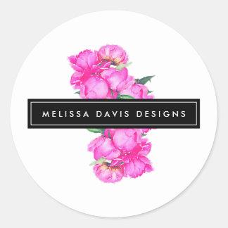 Concepteur floral de groupe de pivoines sticker rond