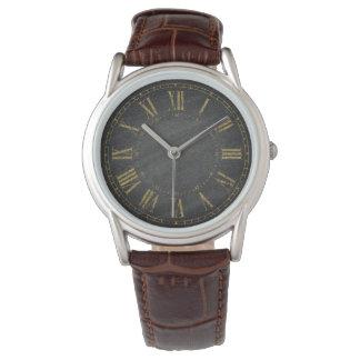 Concepteurs noirs rustiques vintages de chiffre montres bracelet