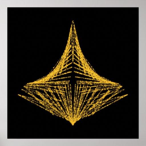 Conception abstraite, ardemment ambre et noir poster
