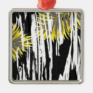 Conception abstraite de feuille de palmier ornement carré argenté