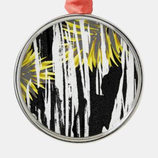 Conception abstraite de feuille de palmier ornement rond argenté