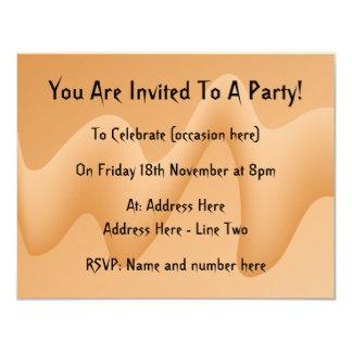Conception abstraite orange-clair d'image carton d'invitation 10,79 cm x 13,97 cm