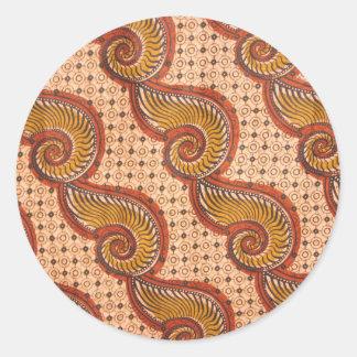 Conception africaine de tissu de Shell d'escargot Sticker Rond