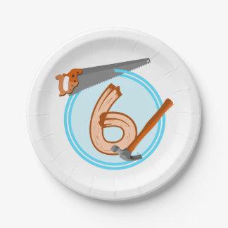 conception an d'anniversaire de 6 de garçon outils assiettes en papier