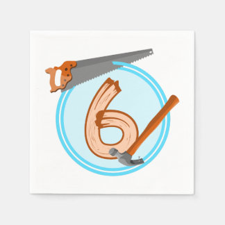 conception an d'anniversaire de 6 de garçon outils serviettes jetables