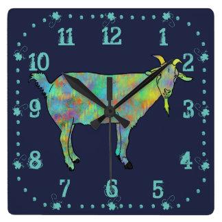 Conception animale colorée de chèvre verte d'art horloge carrée
