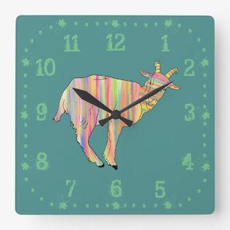 Conception animale d'art drôle coloré rayé de horloge carrée