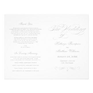 Conception argentée de calligraphie des programmes prospectus 21,6 cm x 24,94 cm