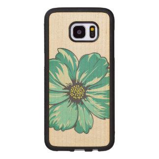 Conception artistique de fleur coque en bois galaxy s7 edge