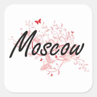 Conception artistique de ville de Moscou Russie Sticker Carré