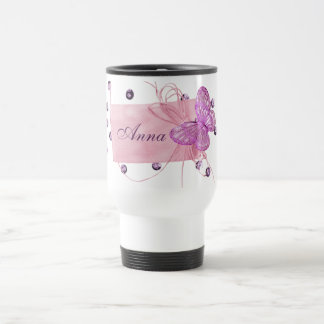 Conception assez rose personnalisable de papillon mug de voyage