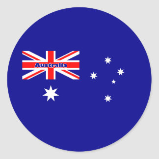 Conception australienne de drapeau avec le texte sticker rond