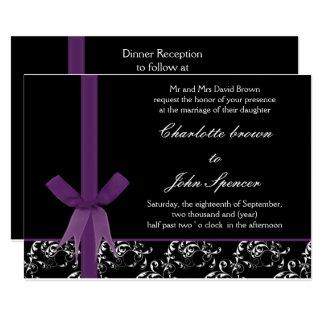 Conception blanche pourpre noire de ruban de FAUX Carton D'invitation 12,7 Cm X 17,78 Cm