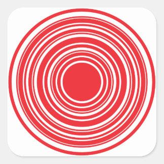 Conception blanche rouge d'oeil de taureaux de stickers carrés