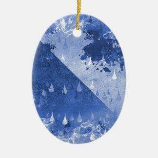 Conception bleue abstraite de baisses de pluie ornement ovale en céramique
