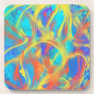 Conception bleue d'art abstrait d'Aqua de flammes Dessous-de-verre