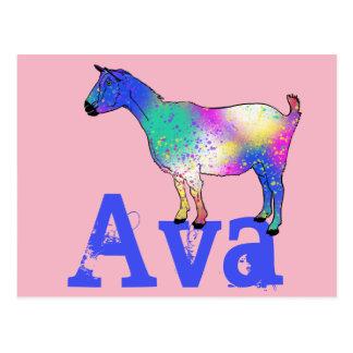 Conception bleue de chèvre d'art abstrait avec carte postale
