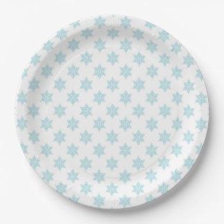 Conception bleue de vacances de motif de flocons assiettes en papier