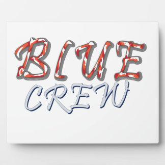 Conception bleue d'équipage plaque photo