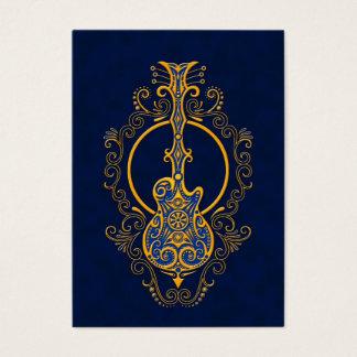 Conception bleue d'or complexe de guitare cartes de visite