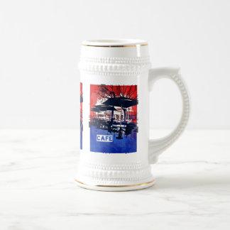Conception bleue rouge d'art de bruit de café chope à bière