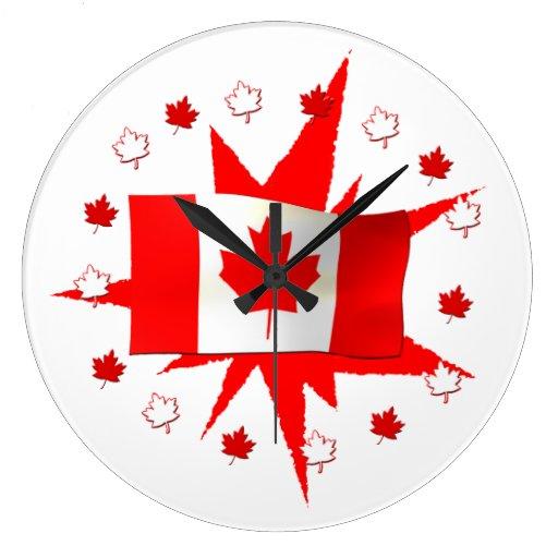 Conception canadienne de drapeau horloge murale