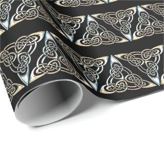 Conception celtique de noeud de spirales noires papier cadeau noël