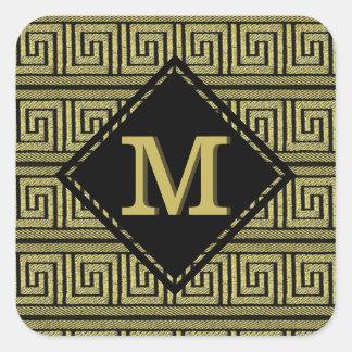 Conception classique principale grecque dans l'or sticker carré