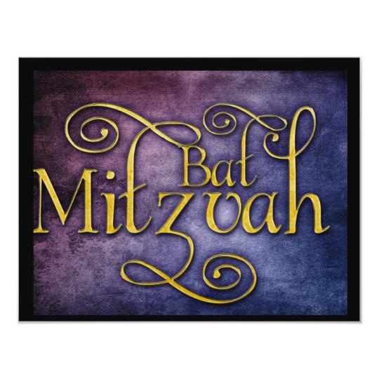 Conception colorée de bat mitzvah carton d'invitation 10,79 cm x 13,97 cm