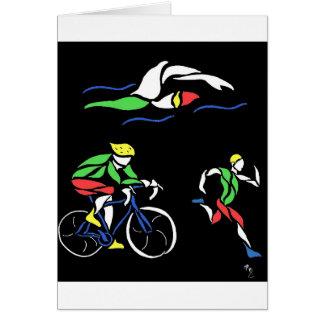 Conception colorée de triathlon carte de vœux