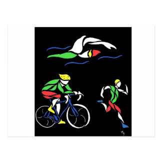Conception colorée de triathlon cartes postales