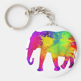 Conception colorée d'éléphant porte-clé rond