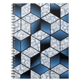 Conception cubique bleue abstraite d'effet carnet