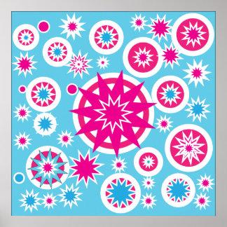 Conception d étoiles de flocon de neige de roses i posters