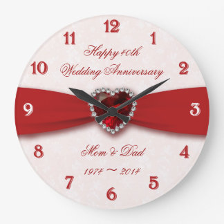 Conception d'anniversaire de mariage de damassé grande horloge ronde