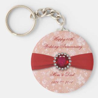 Conception d'anniversaire de mariage de damassé porte-clés