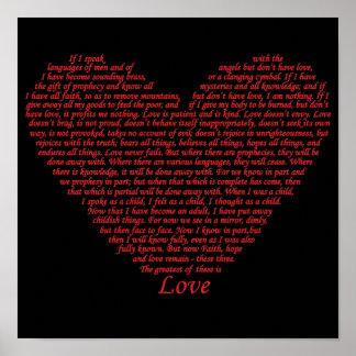 Conception d'art de coeur d'amour des Corinthiens Poster
