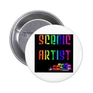 Conception d'artiste pittoresque sur l'arrière - p badge rond 5 cm