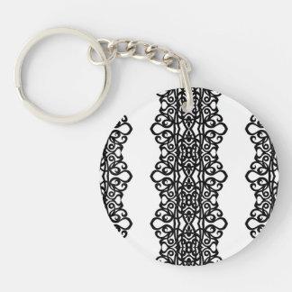 Conception de broderie de dentelle de porte - clé porte-clé rond en acrylique double face