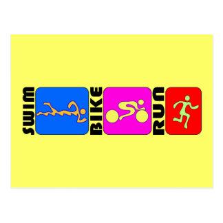 Conception de butoir de TRI de triathlon de bain Carte Postale