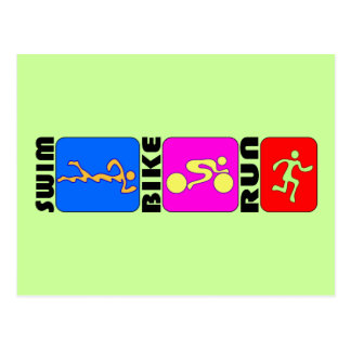 Conception de butoir de TRI de triathlon de bain Cartes Postales
