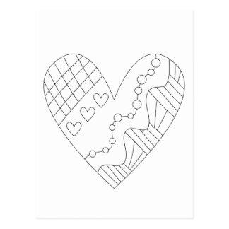 Conception de coloration de coeur cartes postales