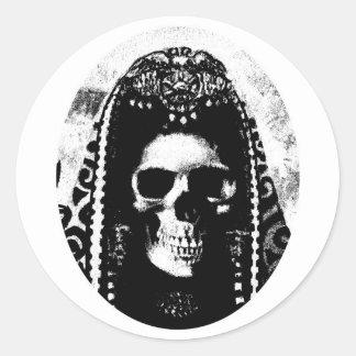 Conception de crâne de faucheuse autocollants ronds